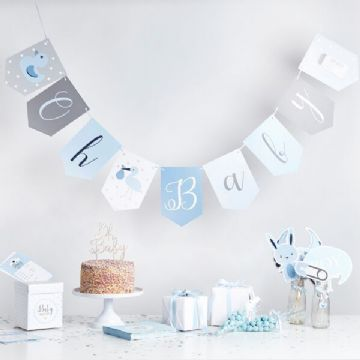 Oh Baby Blue Baby Shower Bunting